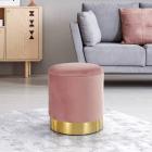 SCAU604 Scaun tapitat masa toaleta taburet machiaj Auriu Roz