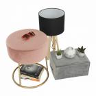SCAU602 Scaun tapitat masa toaleta taburet machiaj Auriu Roz