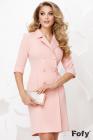 Rochie office roz tip sacou cu nasturi pretiosi cu perla