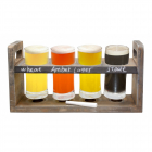Set cadou degustare bere 4 pahare cu suport lemn