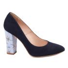Pantofi dama toc gros din piele naturala bleumarin 4793