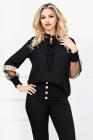 Bluza casual neagra cu insertii din organza si model colorat aplicat