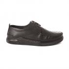 Pantofi b rba i Benvenuti negri din piele cu element decorativ cusut l