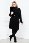 Palton dama Pretty Girl negru cu accesoriu detasabil pe umar din blana