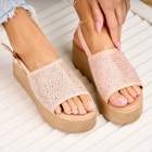 Sandale cu Platforma Piele Ecologica Intoarsa Roz Nariah X4189
