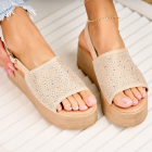 Sandale cu Platforma Piele Ecologica Intoarsa Bej Nariah X4191