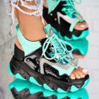 Sandale cu Platforma Piele Ecologica Negre Zaina X4264