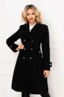 Palton dama MBG negru trei sferturi croi A din stofa cu nasturi argint