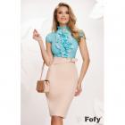 Camasa Fofy eleganta turquoise cu jabou amplu