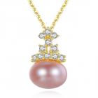 Colier perla naturala mov Marisol