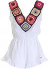 Crochet Insert Short Jumpsuit In White GBD8757BIANCO