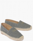 Striped Canvas Espadrilles with Embroidery