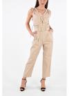 Cotton Double Pleat Jumpsuit with Belt