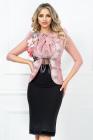 Vesta romantic vintage Venezia roz cu aplicatii pretioase si volanase