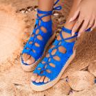 Sandale cu Platforma Piele Ecologica Intoarsa Albastre Daniela X4758