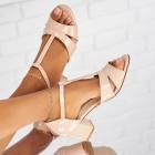 Sandale cu Toc Piele Ecologica Lacuita Bej Eliana X5305