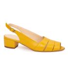 Sandale elegante din piele naturala galbena cu toc mic 5532