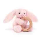 Jucarie Bashful Pink Bunny Wooden Ring 13 cm