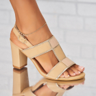 Sandale cu Toc Piele Ecologica Bej Falyn X5849