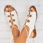 Sandale fara Toc Piele Ecologica Albe Naiomi X5881