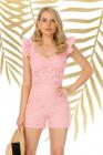 Pantaloni Pretty Girl scurti roz cu broderie perforata