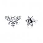 Cercei din argint Asymmetric Bee Petunia