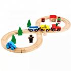 Circuit trenulet din lemn Train Track vagoane cu magnet semne circulat