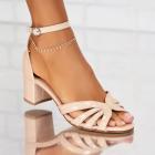 Sandale cu Toc Piele Ecologica Lacuita Bej Gianna X5307