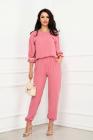 Compleu elegant Bianca roz cu banda brodata la maneci By InPuff