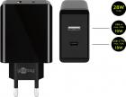 Incarcator de retea Goobay Dual USB USB C incarcare rapida PD 28W negr