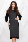 Rochie Mila gri inchis cu negru si buzunare aplicate