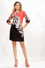 Rochie Silvie neagra cu corai si imprimeu floral