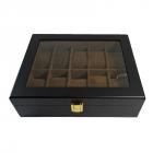 Cutie neagra din lemn pentru 12 ceasuri RESIGILATA