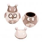 Borcan ceramic cu capac Owl mediu