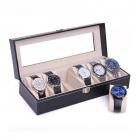 RESIGILAT Caseta 6 ceasuri piele eco neagra cu clema