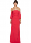 Nicole Miller Techy Crepe Pleated Sleeves Gown