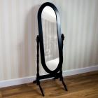 OGN106 Oglinda neagra ovala dormitor cu picior