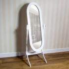 OGA122 Oglinda alba ovala dormitor cu picior