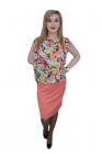 Rochie in nuanta calda cu imprimeu , D&J Exclusive, Corai, 38 EU