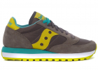 Saucony Jazz Sneakers In Grey Anthracite And Yellow Suede And Nylon