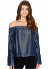 7 For All Mankind Bell Sleeve Off Shoulder Denim Top in Rinsed Night
