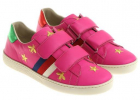 Gucci Fuchsia Sneakers With Golden Embroidery
