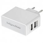 Incarcator de retea incarcator USB dual de perete KM0017 2 1A