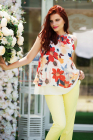 Bluza de vara din voal cu imprimeu floral