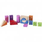 Cuburi lemn colorate pentru constructie 51 buc