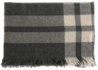 Gray And Cream Embroidered Check Scarf