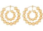Steve Madden Multi Beaded Double Hoop Post Earrings