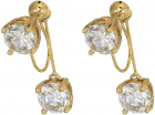 Vince Camuto Stone Front Back Clip Earrings