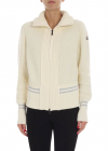 Moncler Cream Colored Cardigan With Logo