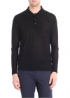 Black Merino Wool Polo